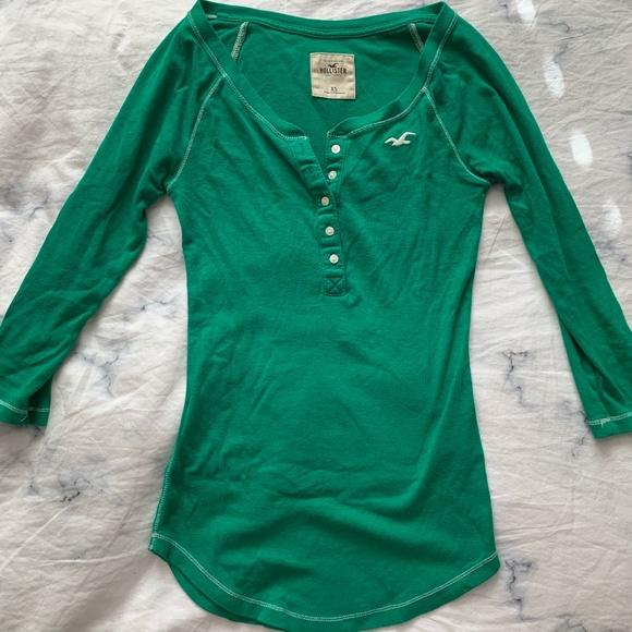 Hollister Emerald Green Henley
